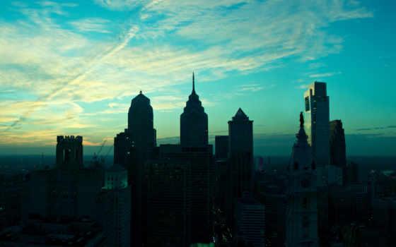 города, america, небоскребы, небо, дома, inquirer, philadelphia,