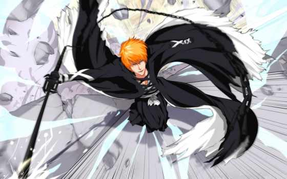 ичиго, kurosaki, bleach, парень, меч, блич, взгляд, art,