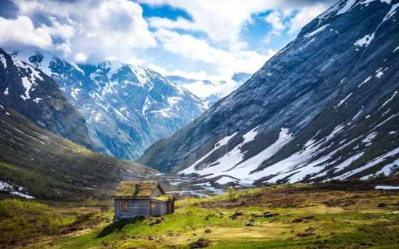 горы, горные, заставки, norwegian, снег, foot, озеро, скалы, пейзажи -, горах,