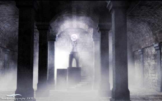 дымка, распространяетс, темному, залу, старинного, дворца, единорог,