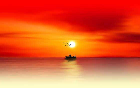 силуэт, море, рыбак, рыбалка, рассвет,