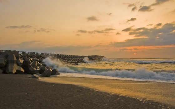 море, sun, волны