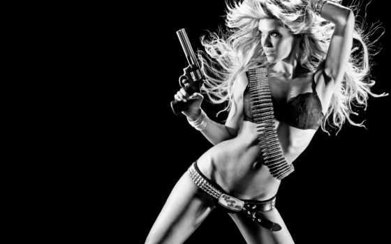 девушка, пистолетом, devushki