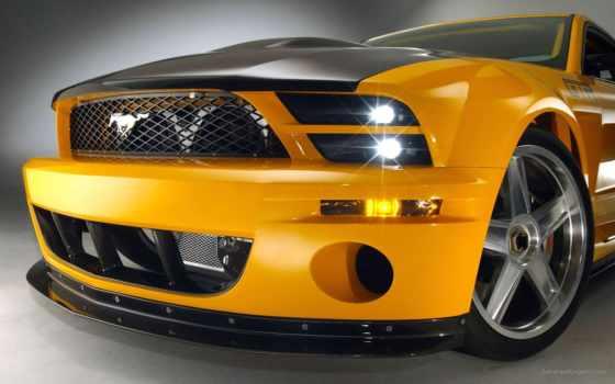 желтый  ford, mustang