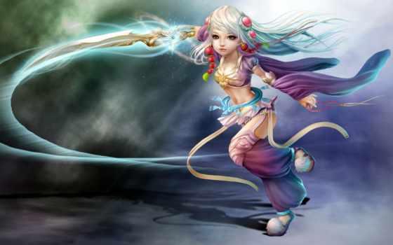 anime, девушка, мечом, меч, оружие, магия, browse, art, devushki,