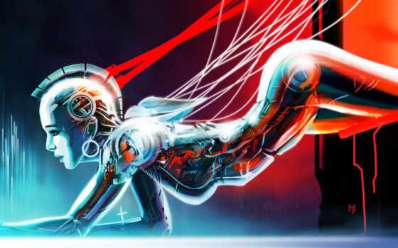 android, девушка, art, провода, robot, ирокез,