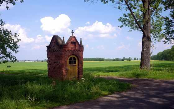 дома, изображение, чехия, природа, trees, трава, картинка, прага, roadside,