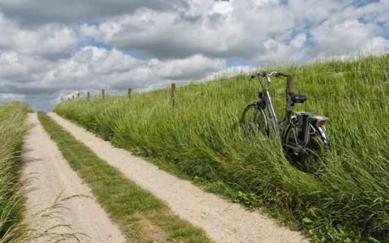 countryside, roadside, bike, трава, дорога, техника, велоспорт, небо, adventure,