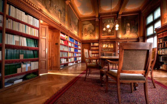 библиотека, интерьер, кабинет, офис, красивая, банка, комната,
