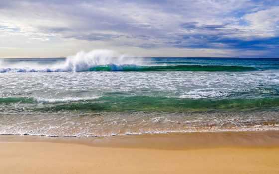 waves, накатываются, берег, моря, море, пляж,
