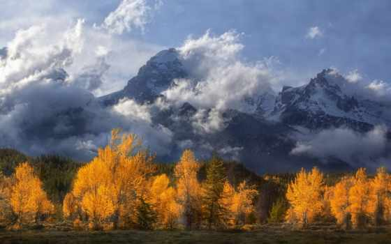 grand, teton, wyoming, park, national, скалистый, mountains, landscape, tags, clouds