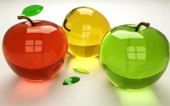 яблоки, стеклянные, взгляд, фрукты, другой, apple,