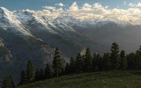 горы, снег, landscape