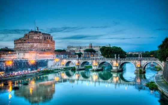 рим, italy, мост, река, тибр, ангела, castle, святая, италии,