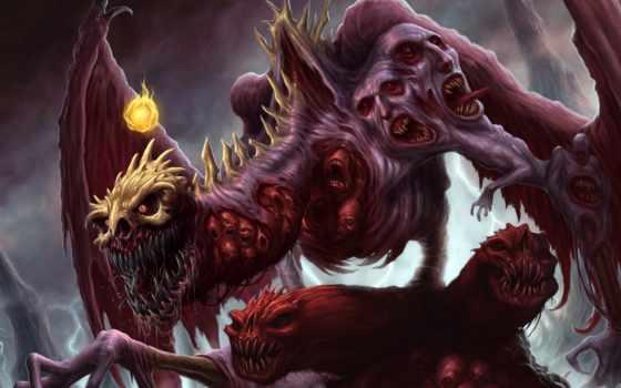крылья, дракон, лапы, когти, лица, черепа, трупы, клыки,