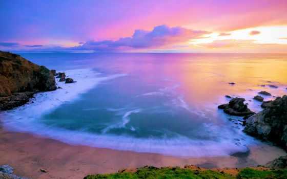 рассвет, море, пляж, розовый, waves, камни, песчаный, небо,