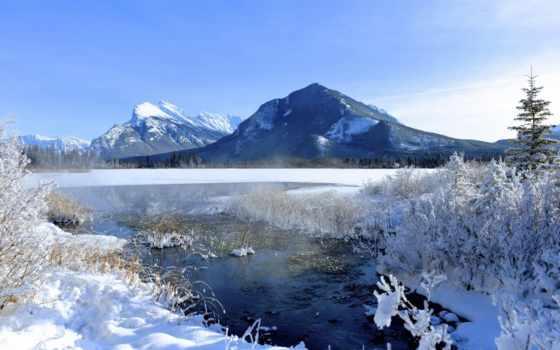 montañas, nevadas, paisajes, con, imágenes, para, winter, снег, grandes, канадский,