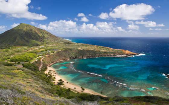 oahu, hawaii, bay, hanauma, остров, море, живопись, тыс,