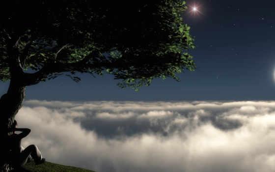 звезды, луна, небо, взгляд, дымка,