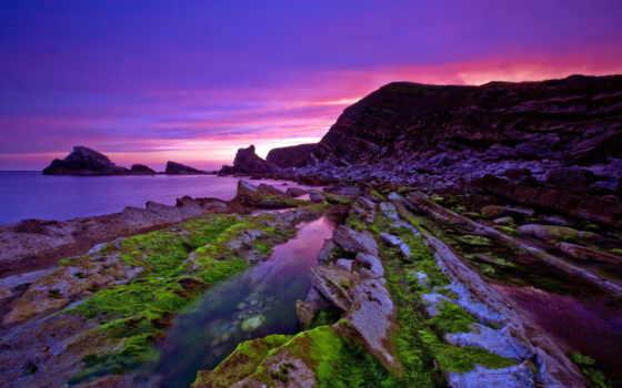 скалы, water, landscape, фиолетовых, тонах, камни, мох, природа, море,