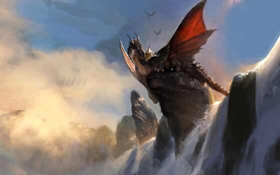 дракон, водопад, art, prank, comics, тематика, funny, fantastic, арта