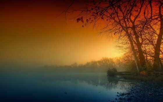 осень, природа, красивый, sun, утро, flash, illuminate, discovery