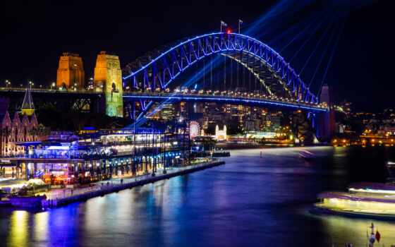 sydney, casa, австралия, tourist, puente, аттракцион, мост, ночь, река, rio