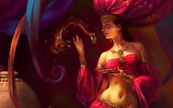 девушка, zakirov, fairy, eldar, star, oriental, наряд, напиток, стакан, wallpaper, girl, red, theme, fantasy, фэнтези,