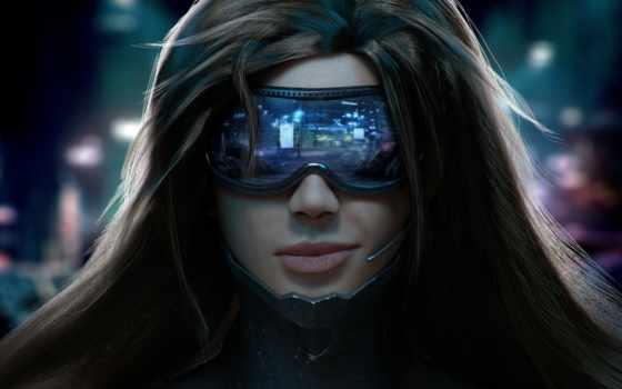 лицо, девушка, очки, киберпанк,