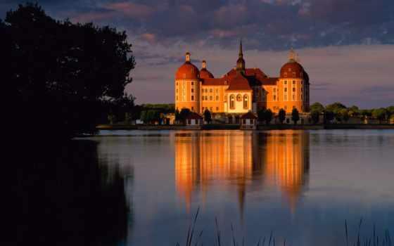 castle, берег, река
