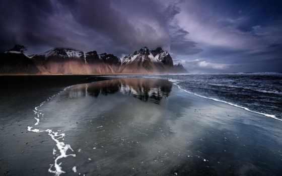iceland, пляж, black, песок, горы, ночью,