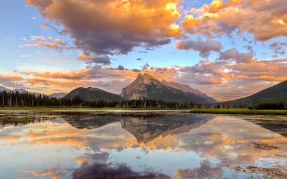 ipad, озеро, горы, небо, красивые, new, канадский, retina, природа, живописными,