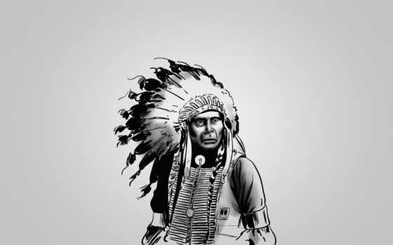 индеец, перья, white, краснокожий, рисунки, чёрно, лидер,