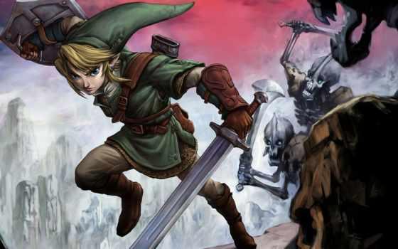 эльф, щит, битва, нежить, гном, zelda, ссылка, меч, скелеты,