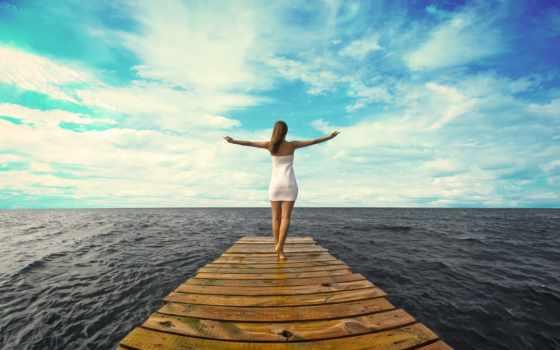море, горизонт, девушка, платье, pier, ocean, доски, oblaka, небо,