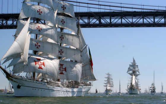tall, ships, корабль, lisbon, sagres, португалия, sail,