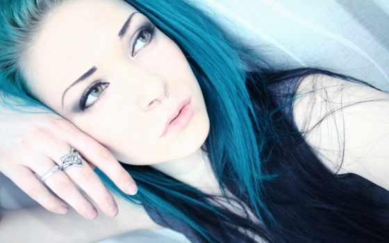 azul, pelo, con, chica, cabello, chicas, imagenes,