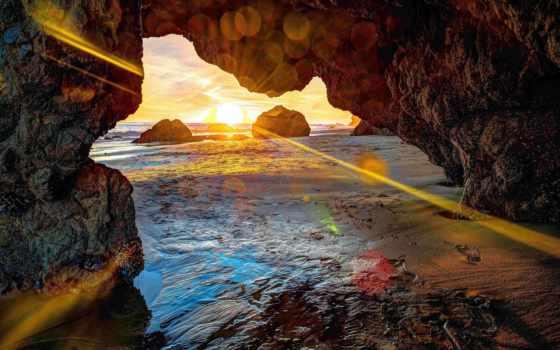 parede, papel, мар, cavernas, paredes, сол, por, gruta, decoradas, rochas,