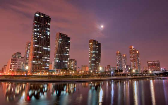 отражение, полнолуние, изображение, akspic, изображения, небоскрёб, фон, город,