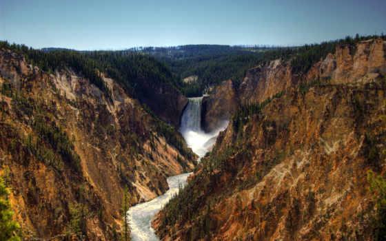 yellowstone, пасть, low, park, водопад, national, природа, free