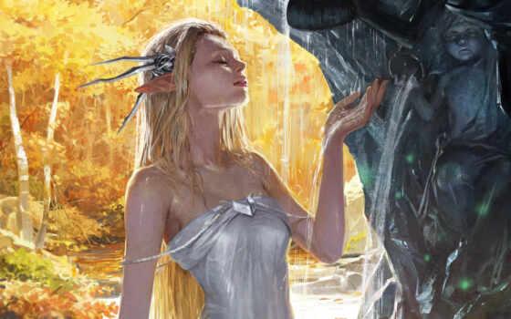 fantasy, art, эльф, девушка, drawing, коллекция, wet, платье