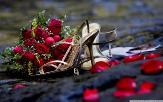 туфельки, букет и лепестки роз