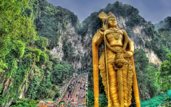 будда, статуя, города, азия, priroda, горы, лестница, скалы,
