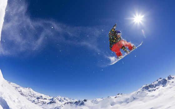snowboarding, горы, прыжок,