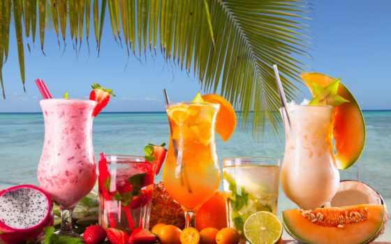 коктейль, напитки, еда, трубочка, цитрусы, ягоды, клубника, море, palm, мята, бокалы,