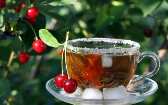 чая, зелёный, чая, вишней,