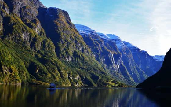 norwegian, природа, горы, норвегия, небо, landscape, mountains, аурландсфьорд, река, картинка,