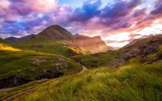 highland, шотландия, долина, glencoe, дорога, desktop, highlands, август,