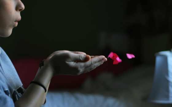 поцелуй, ладони, aerial, сердечки, бумажные, сердца,
