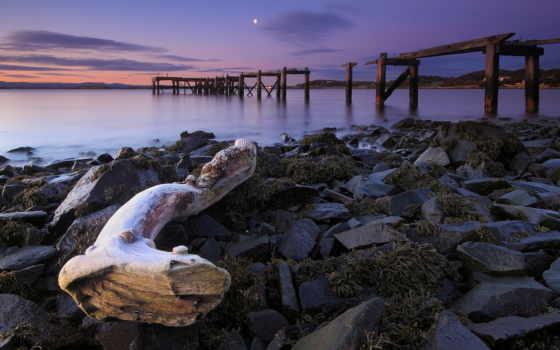 пляж, decay, природа, ocean, beaches, закат, pier, море, water,